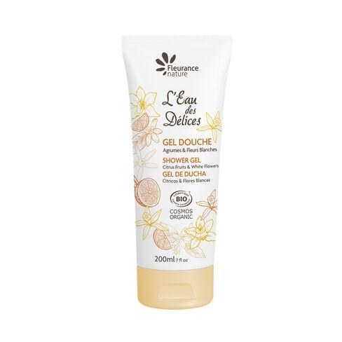 Gel douche parfumé à l'Eau des Délices Agrumes & Fleurs blanches 200 ml cosmétique bio