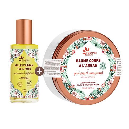duo argan baume généreux + huile d'argan cosmétique bio