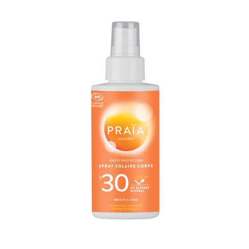 Praïa Spray solaire corps SPF30 cosmétique bio