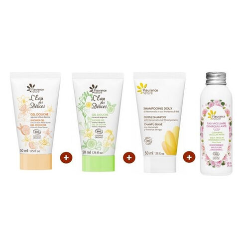 Les 4 produits au format voyage cosmétique bio