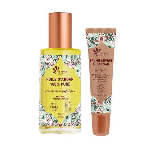 duo argan huile + baume lèvres cosmétique bio