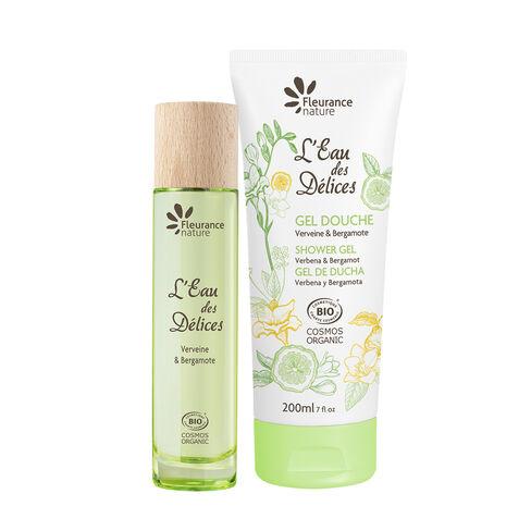 Duo gel douche et parfum l'eau des délices verveine et bergamote cosmétique bio