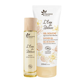 Duo gel douche et parfum L'Eau des Délices Agrumes & Fleurs blanches